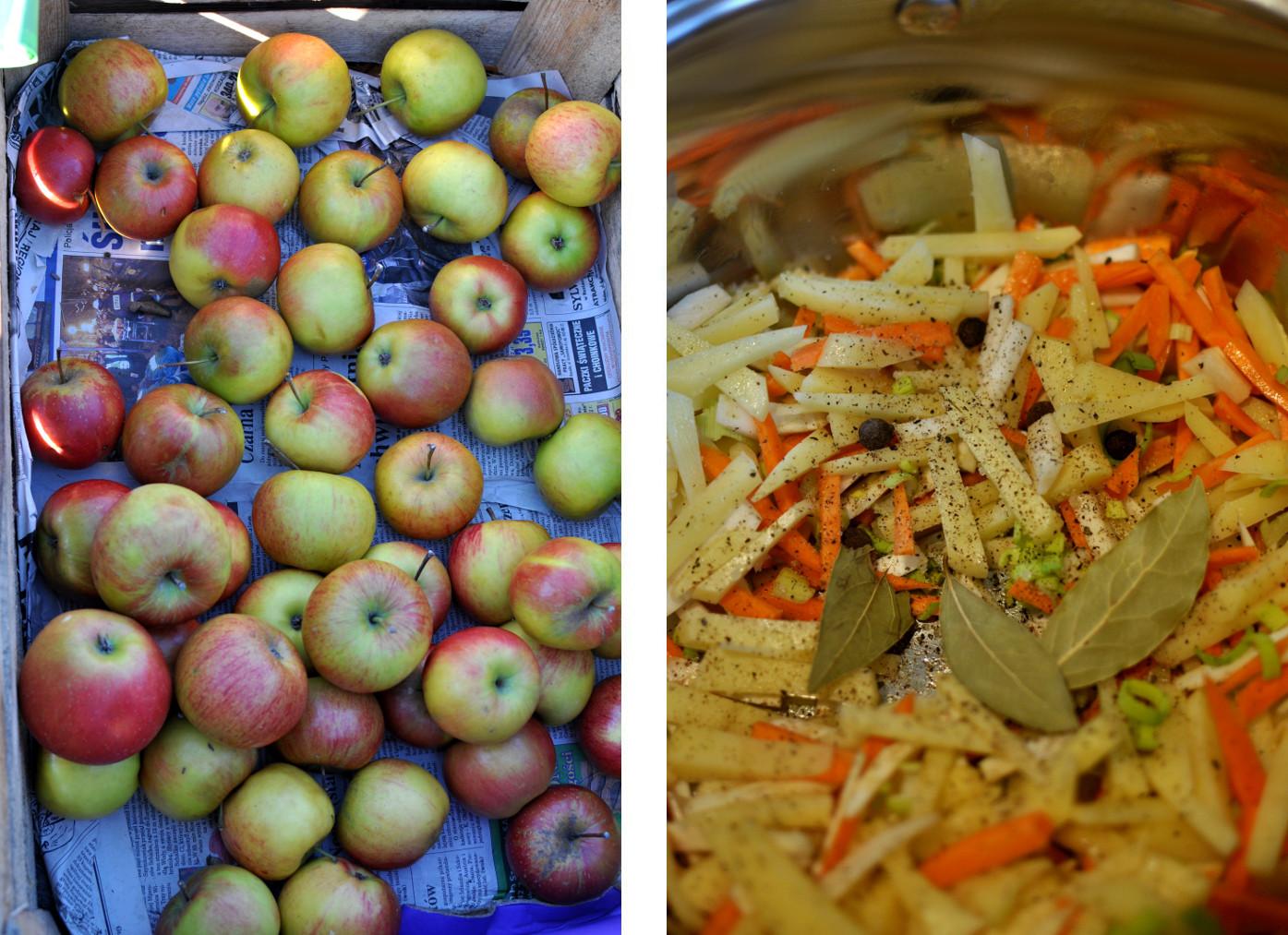 odżywianie zimą. jabłka na rynku i warzywa na zupę. bebuszka